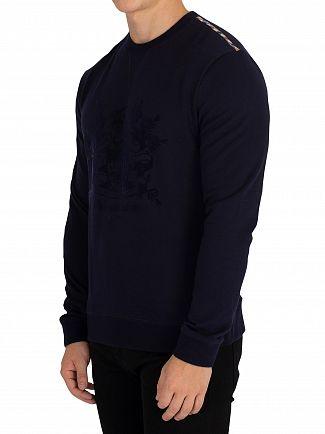 Aquascutum Navy Ali Flock Printed Sweatshirt