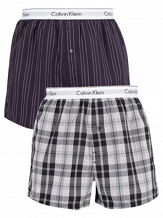 Calvin Klein Ryan Striped Well/Hickory Plaid 2 Pack Slim Trunks