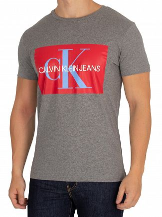 Calvin Klein Jeans Grey Heather/Tomato Monogram Box T-Shirt