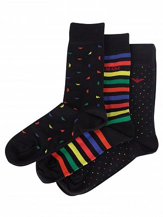 Emporio Armani Black/Striped/Black 3 Pack Corta Socks