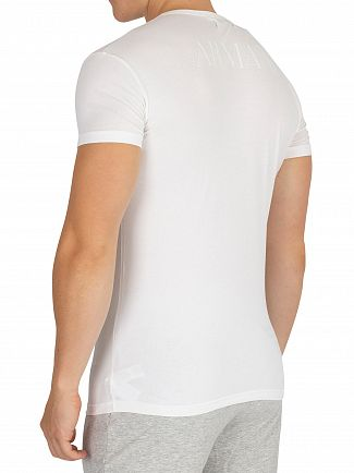 Emporio Armani White Stretch Cotton Crew T-Shirt