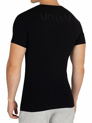 Emporio Armani Black Stretch Cotton Crew T-Shirt