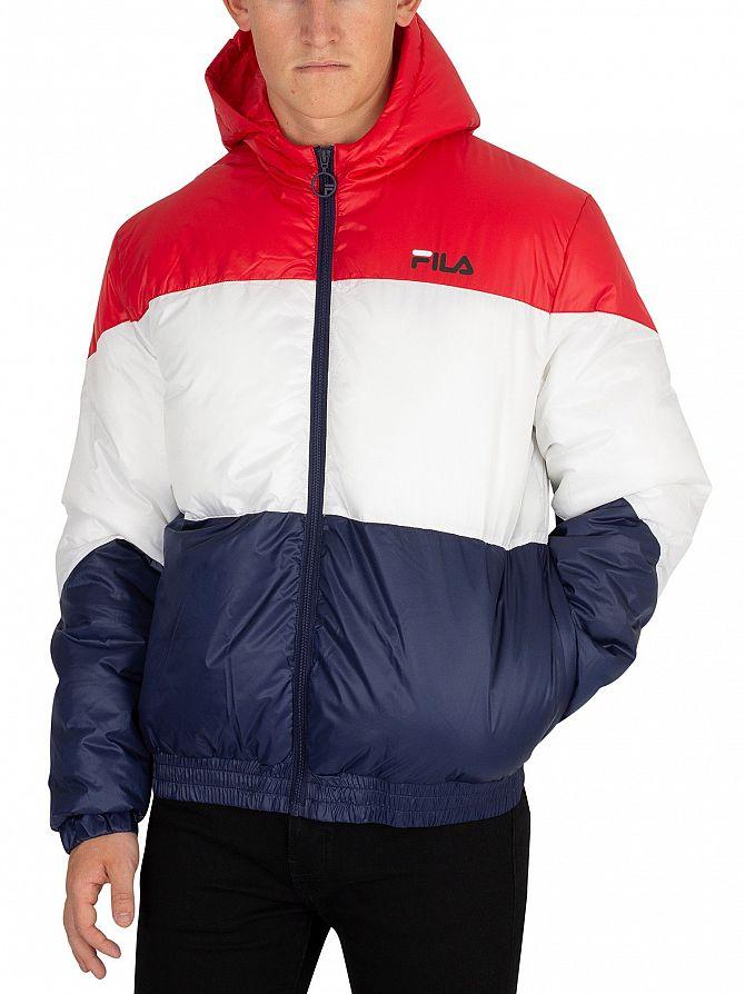 Fila Vintage Red/White/Peacoat Tatum Striped Puffer Jacket
