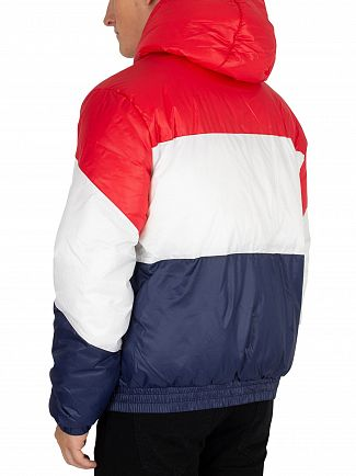 Fila Vintage Red/White/Peacoat Tatum Striped Puffer Jacket