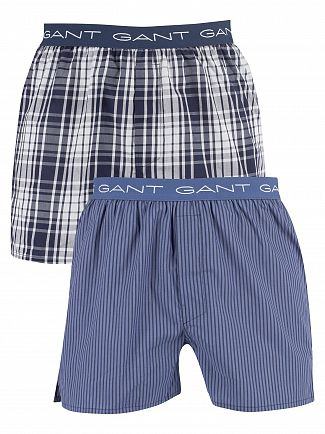 Gant Navy 2 Pack Woven Trunks
