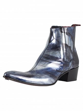 Jeffery West Black/Grey/Nube Slip On Leather Boots