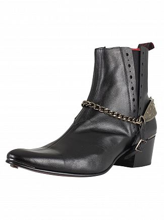 Jeffery West Black Slip On Leather Boots