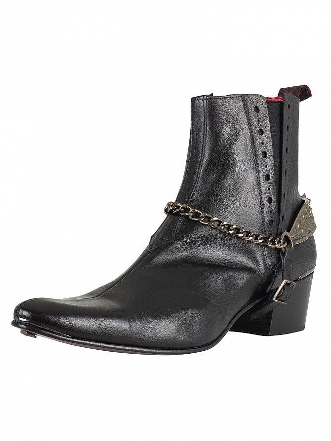 Jeffery West Black Slip On Leather Boots