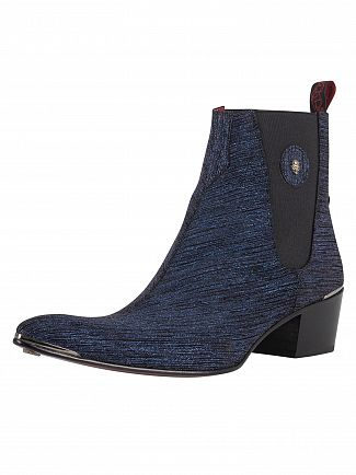 Jeffery West Black/Navy/Drum Slip On Leather Boots