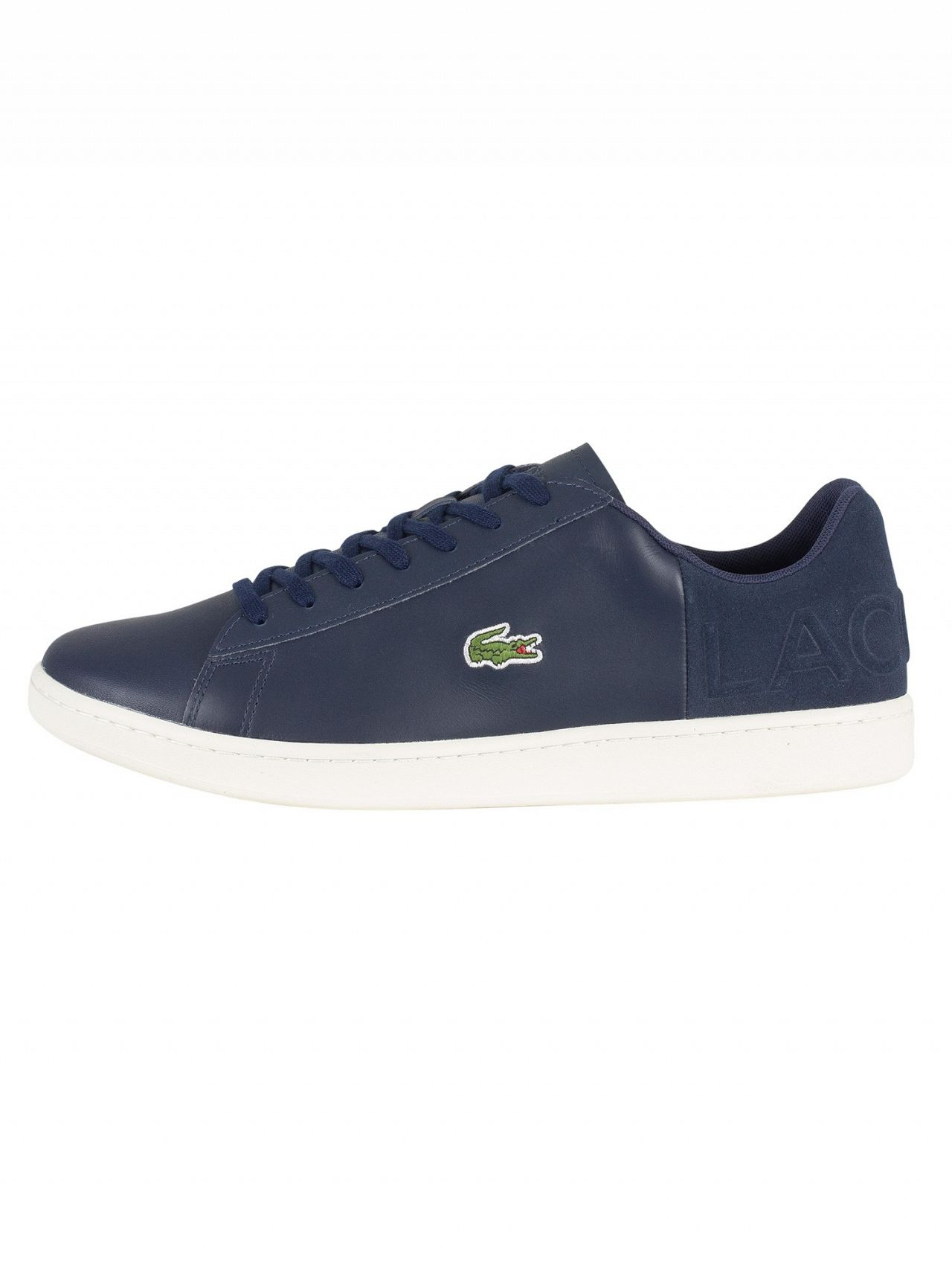 445cc362d802a4 Lacoste Navy Off White Carnaby Evo 418 1 SPM Leather Trainers