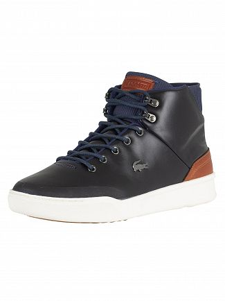 Lacoste Navy/Brown Explorateur Classic 318 1 CAM Leather Trainers