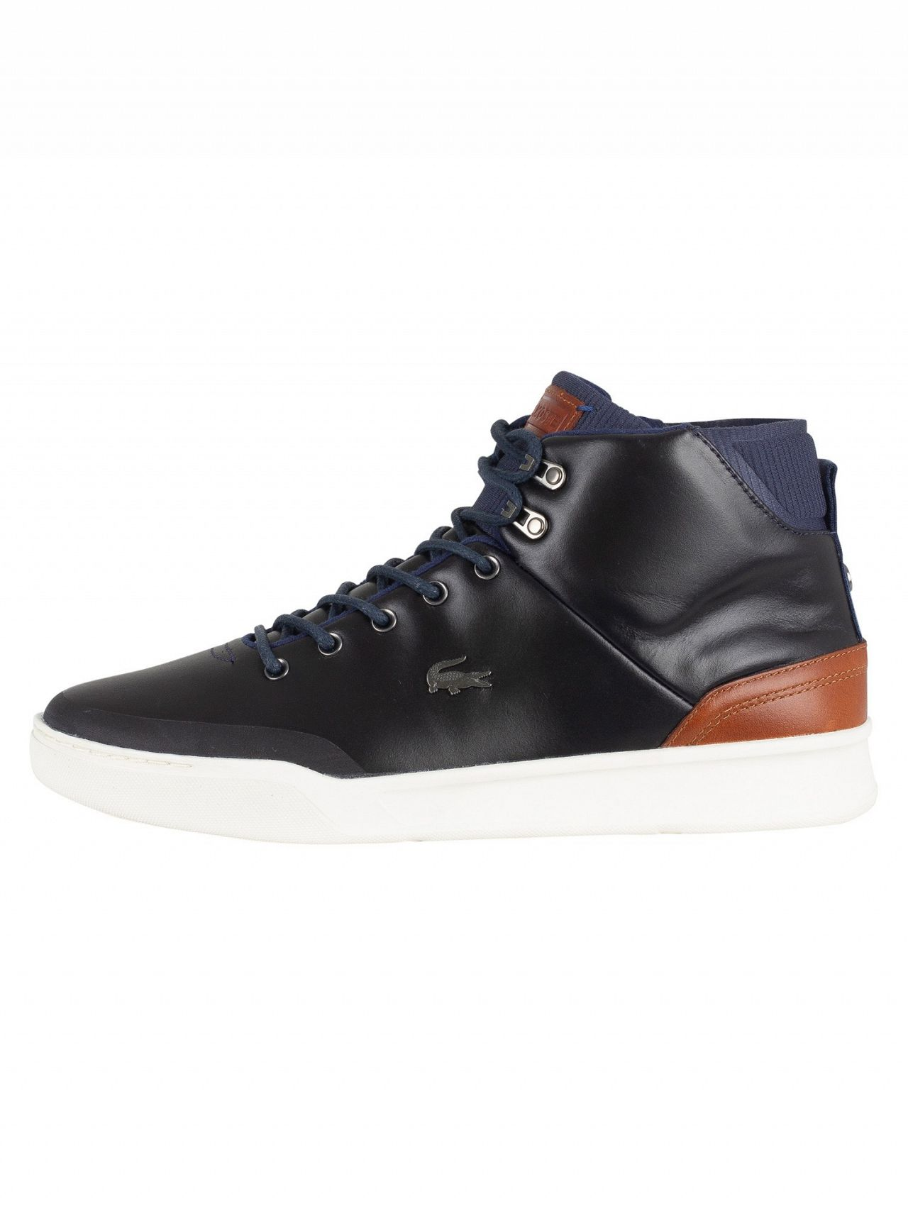 a88b6afbacb9b3 Lacoste Navy Brown Explorateur Classic 318 1 CAM Leather Trainers ...