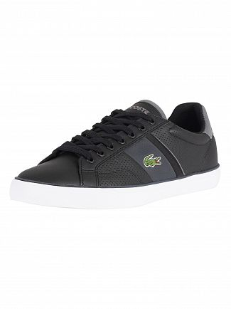 Lacoste Black/Dark Grey Fairlead 118 1 CAM Leather Trainers