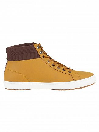 Lacoste Tan/Dark Brown Straightset Insulac CAM Leather Trainers