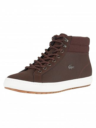 Lacoste Dark Brown Straightset Insulac CAM Leather Trainers