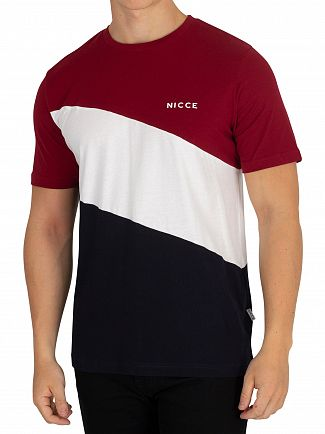 Nicce London Merlot/White/Deep Navy Triad T-Shirt