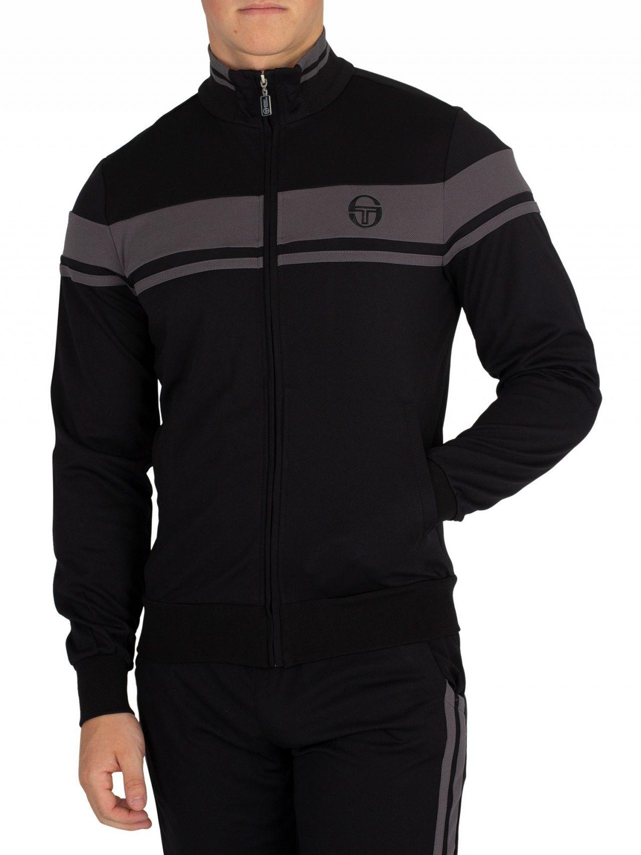 c164b354 Sergio Tacchini Black/Grey Damarindo Pinstripe Track Jacket | Standout