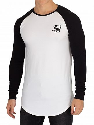 Sik Silk Black/White Longsleeved Raglan Gym T-Shirt