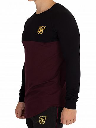 Sik Silk Black/Burgundy Longsleeved Raglan Gym T-Shirt