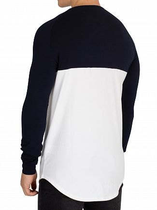 Sik Silk Navy/White/Gold Longsleeved Raglan Gym T-Shirt