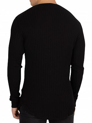 Sik Silk Black Rib Knit Longsleeved Gym T-Shirt