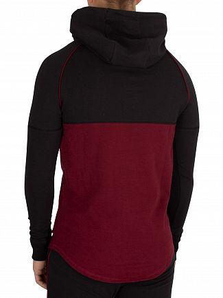 Sik Silk Black/Burgundy Zonal Pullover Hoodie