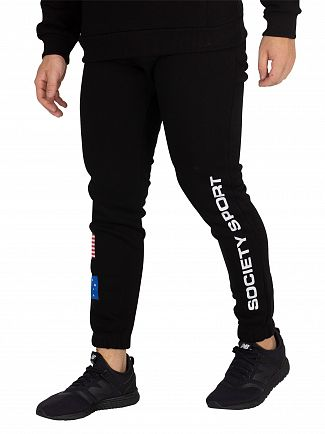 Society Sport Black Flags Joggers