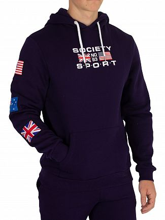 Society Sport Navy No93 Flags Pullover Hoodie