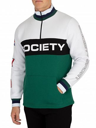 Society Sport White/Black/Forest Quarter Zip Fleece