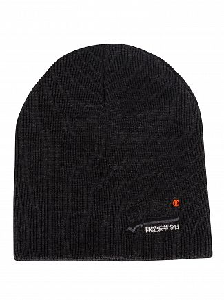 Superdry Black Charcoal Grit Orange Label Beanie