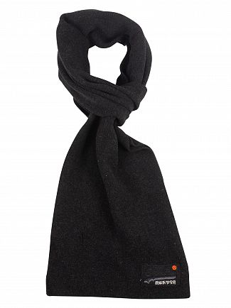 Superdry Black Charcoal Grit Orange Label Scarf