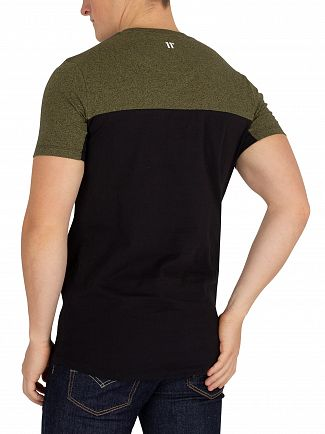 11 Degrees Black/Olive Marl Block T-Shirt