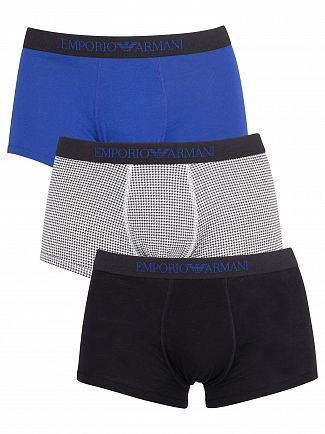 Emporio Armani Black/Blue/Patten 3 Pack Trunks