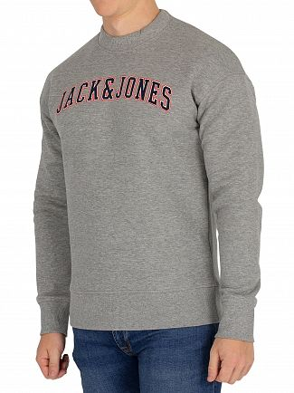 Jack & Jones Light Grey Melange Hervey Graphic Sweatshirt