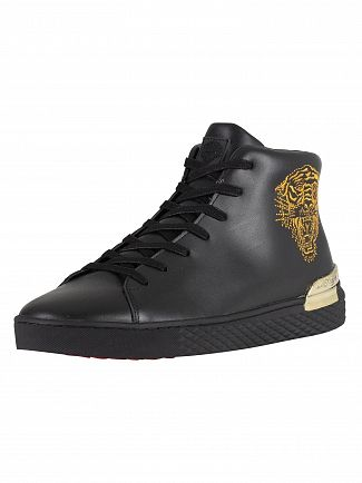 Ed Hardy Black/Gold Beast Hi Top Embroidery Trainers