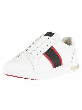 Ed Hardy White/Black Blade Low Top Leather Trainers