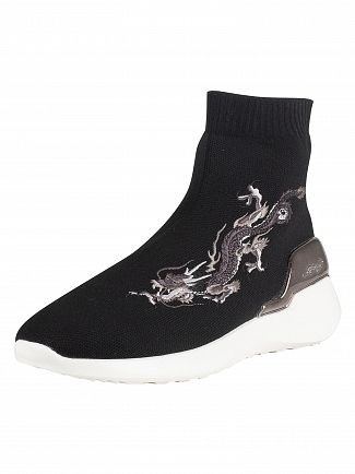 Ed Hardy Black/White Claw Hi Top Sock Trainers