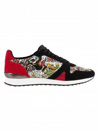 Ed Hardy Black/Multi Covered Runner Suede Trainers