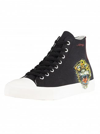 Ed Hardy White/Black Fierce Tiger Print Hi Top Trainers