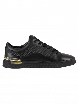 Ed Hardy Black/Black Scale Lop Top Leather Trainers