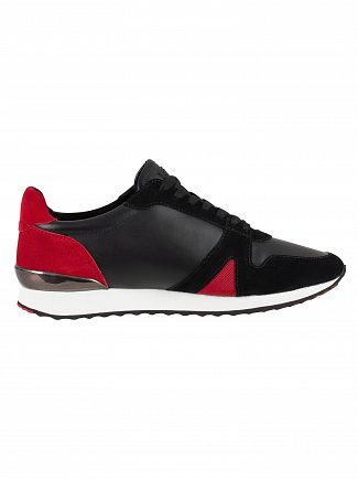 Ed Hardy Black/Red Stealth Runner Suede Trainers