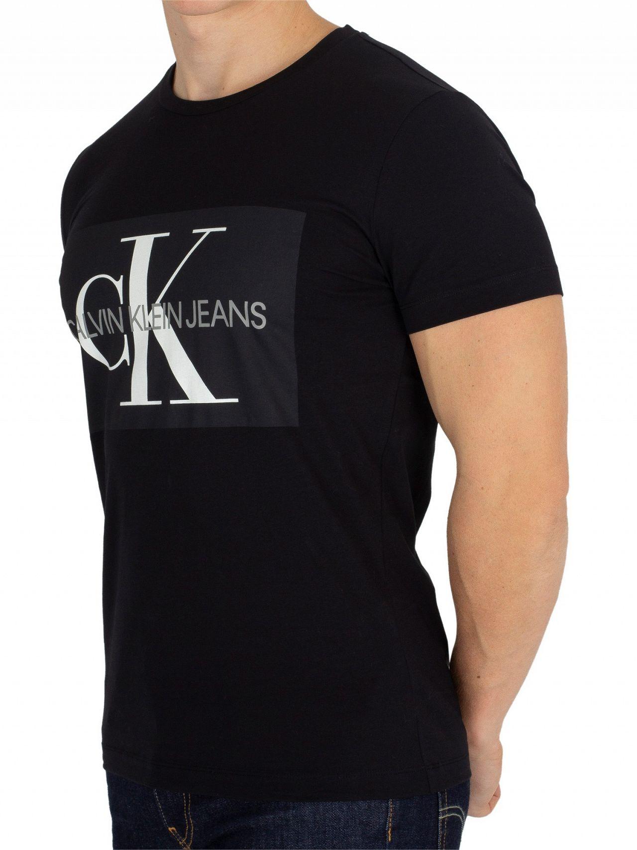 5a6f3738ed24d2 Calvin Klein Jeans Black Monogram Box T-Shirt