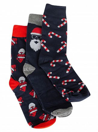 Jack & Jones Navy Blazer 3 Pack Santa Socks Gift Box