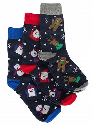 Jack & Jones Navy Blazer 3 Pack Snowman Socks Gift Box