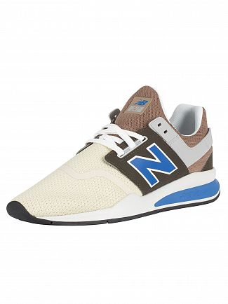 New Balance Beige/Blue 247 Knit Trainers
