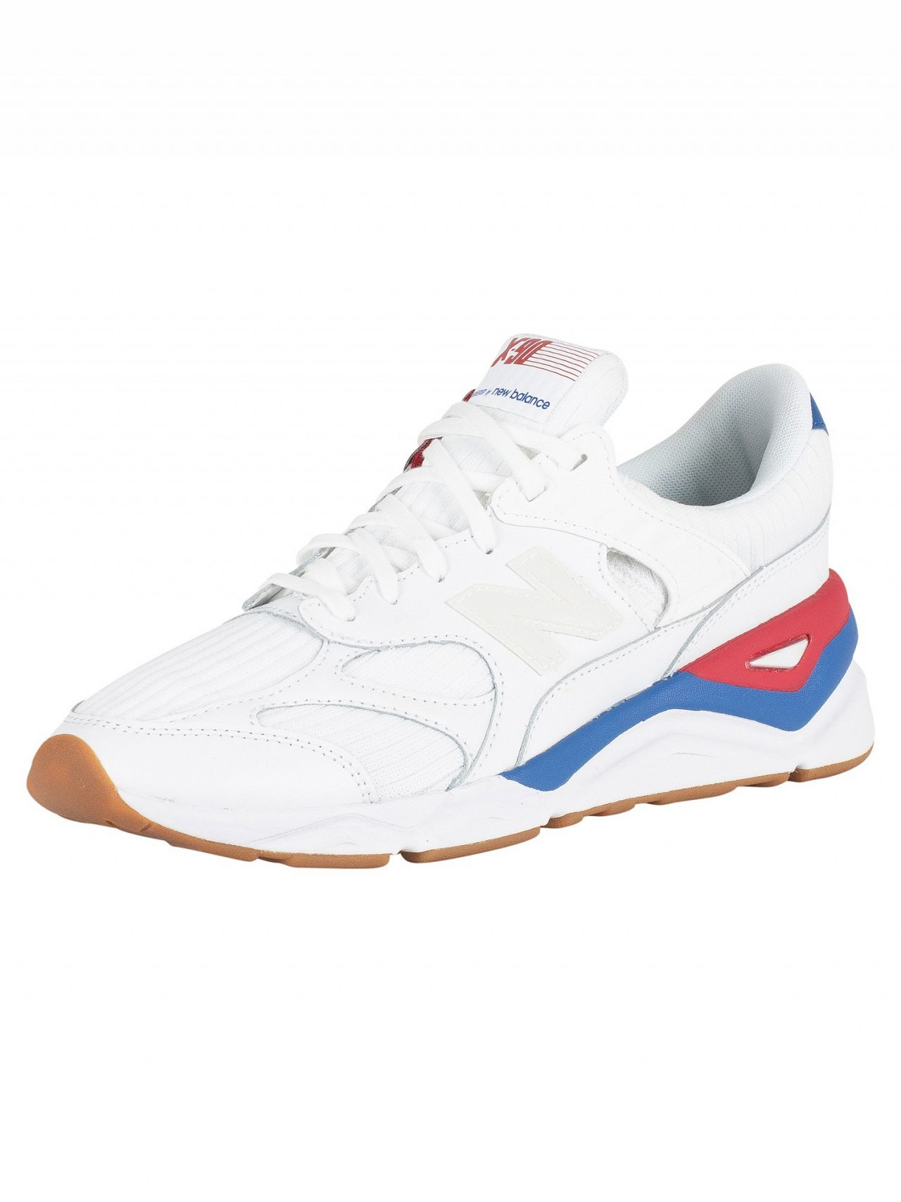 newest c18db f9a77 New Balance White Blue Red X-90 Trainers