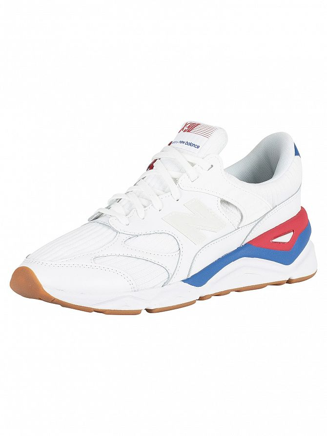 New Balance White/Blue/Red X-90 Trainers