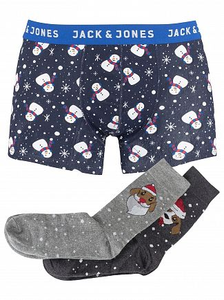 Jack & Jones Navy Blazer Snowman Trunks & Socks Gift Box