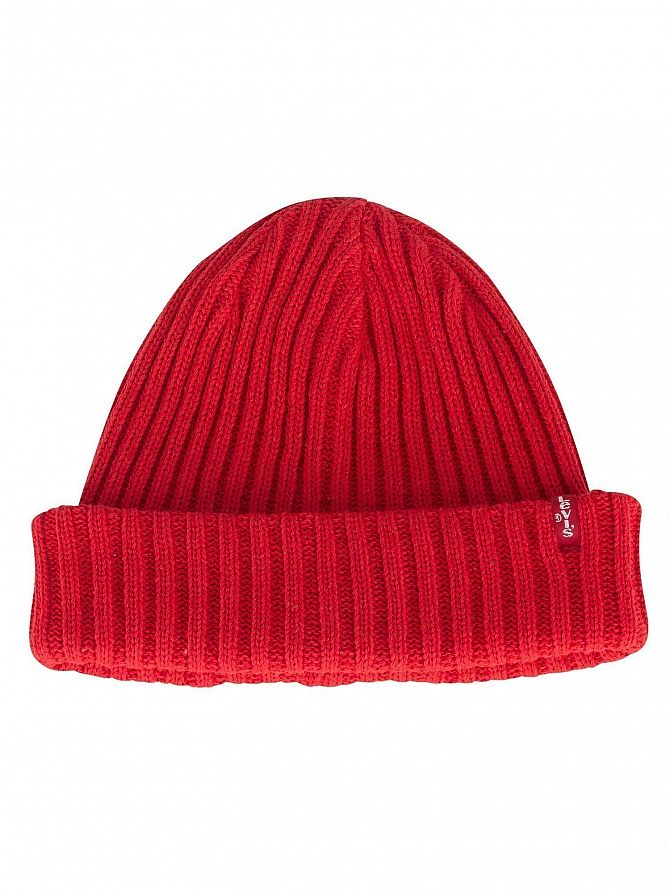 Levi's Brilliant Red Ribbed Beanie