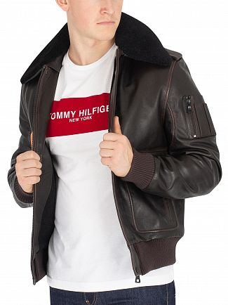 Tommy Hilfiger Golden Brown Aviator Shearling Leather Jacket